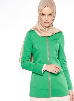 Fermuarlı Trençkot - Yeşil - Fashion Box London Ürün Resmi
