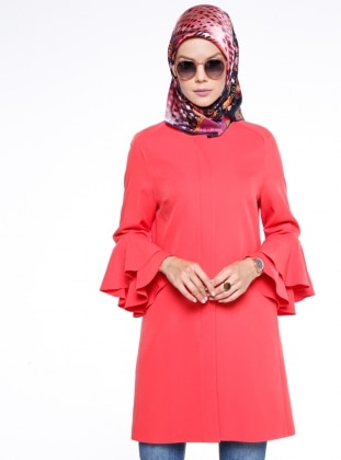 Coral - Fully Lined - Crew neck - Trench Coat