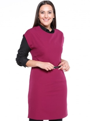 Pink - Unlined - Crew neck - Plus Size Tunic