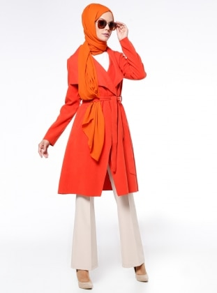 Şal Yaka Kaban - Turuncu Fashion Box London
