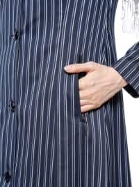 Navy Blue - Ecru - Stripe - Unlined - Crew neck - Topcoat