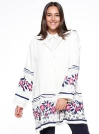 Desenli Ceket - Beyaz - he&de