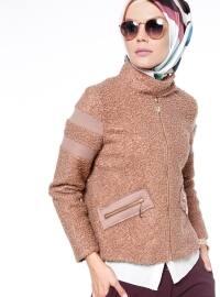 Fermuarlı Mont - Camel - Fashion Box London