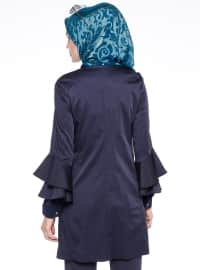 Crew neck - Fully Lined - Navy Blue - Trench Coat