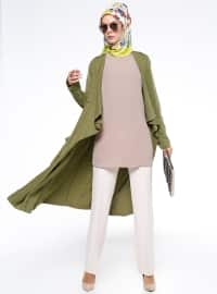 Şal Yaka Kap - Haki - Fashion Box London