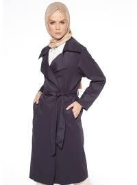 Şal Yaka Trençkot - Lacivert - Fashion Box London