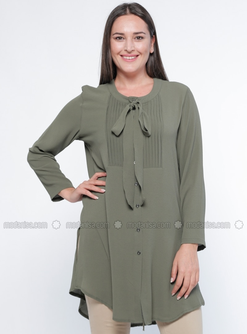 Khaki - Button Collar - Plus Size Tunic