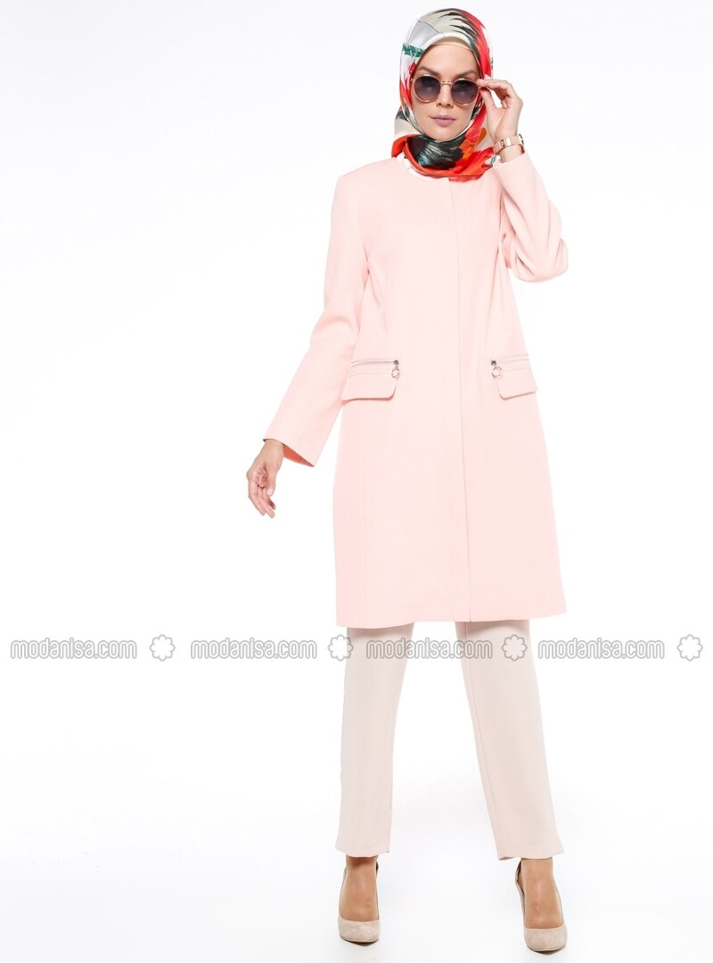 Salmon - Fully Lined - Crew neck - Trench Coat