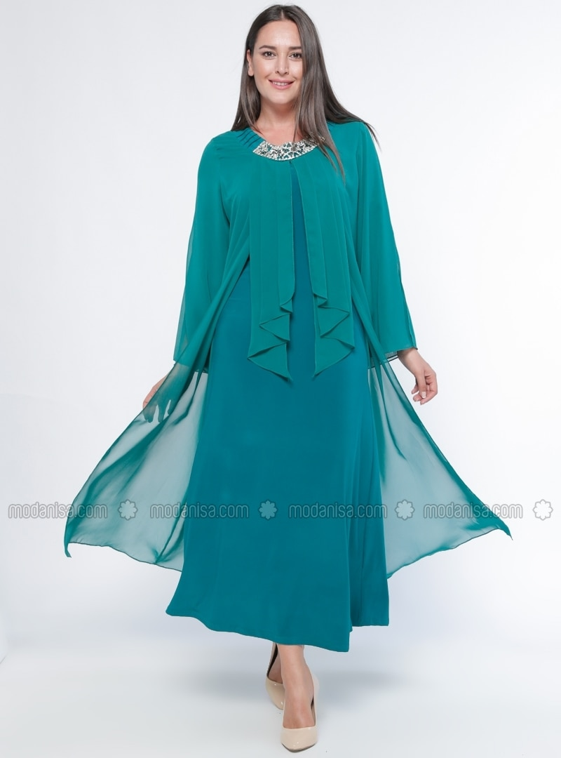 Unlined - Crew neck - Muslim Plus Size Evening Dress - he&de
