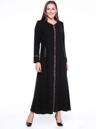 Black - Leopard - Crew neck - Unlined - Plus Size Abaya
