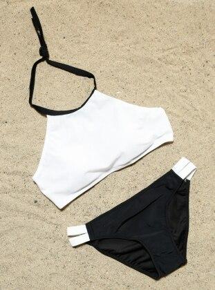 Şık Tankini Bikini Takımı - Siyah Beyaz Angelsin