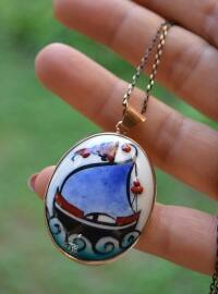 Blue - Ecru - Necklace