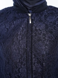 Navy Blue - Unlined - Point Collar - Abaya