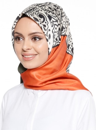 Orange - Khaki - Printed - Scarf - Renkli Butik