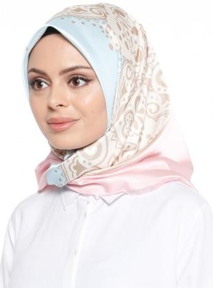 Blue - Pink - Printed - Scarf - Renkli Butik