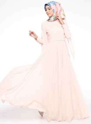 Nurconcept İnci Detaylı Abiye Elbise - Pudra