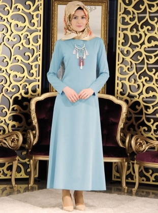 Kolyeli Elbise - Buz Mavisi Night Blue Collection
