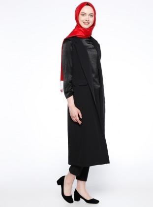 Black - Unlined - Shawl Collar - Vest