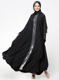 Black - Silver tone - Crew neck - Unlined - Dress - Tuncay