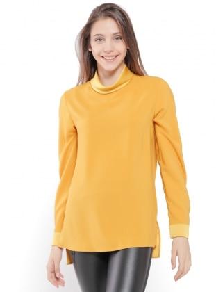 Yellow - Polo neck - Blouses