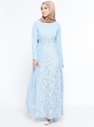 Güpür Detaylı Abiye Elbise - Bebe Mavisi Sevilay Giyim