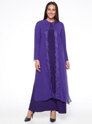 Purple Fully Lined Crew Neck Muslim Plus Size Evening Dress