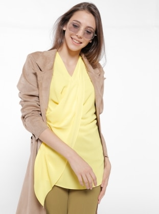 Yellow - V neck Collar - Blouses