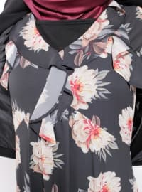 Black - Multi - V neck Collar - Unlined - Dress