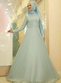 Mihrimah Abiye Elbise - Mint Yeşili - Gamze Özkul