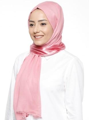Pink - Striped - Viscose - Shawl