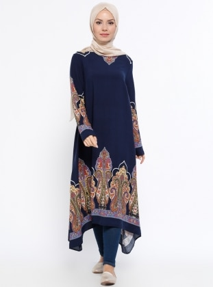 Navy Blue - Multi - Crew neck - Viscose - Tunic - Topless