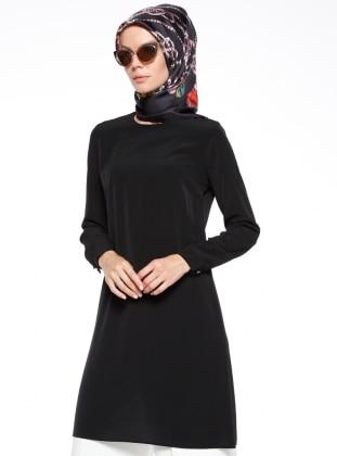 Bezen Düz Renkli Tunik - Siyah