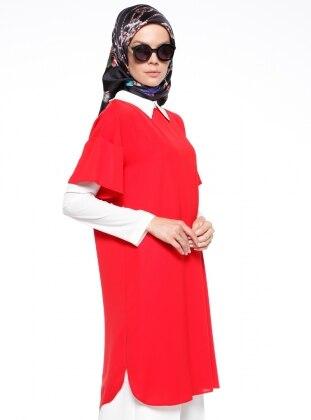 Red - Ecru - Point Collar - Tunic