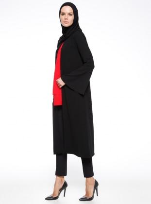 Black - Unlined - Crew neck - Topcoat