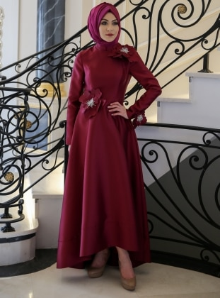 Maroon - Fully Lined - Crew neck - Muslim Evening Dress - Minel Ask 325909