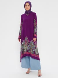 Purple - Multi - Crew neck - Viscose - Tunic