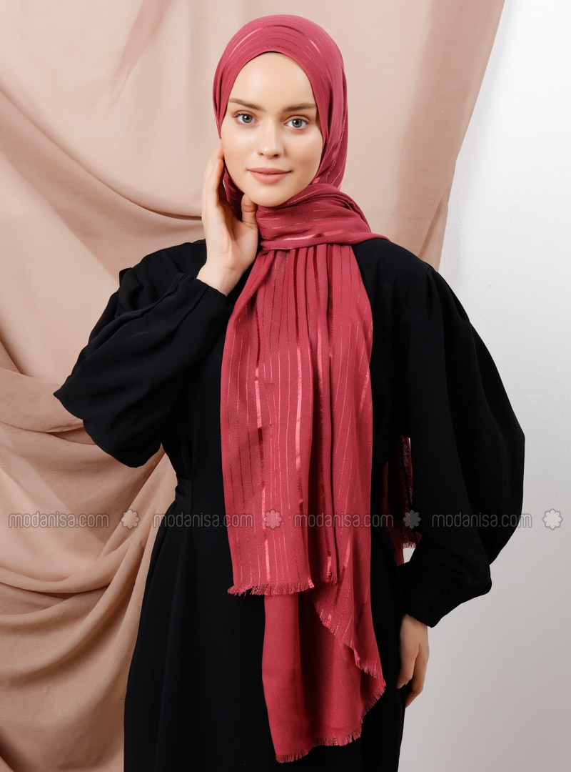 Maroon - Striped - Shawl