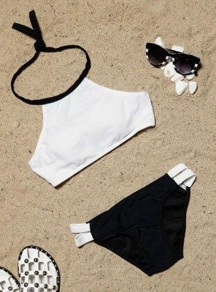 Tankini Bikini Takımı - Siyah Beyaz Angelsin