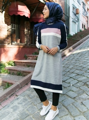 Gray - Crew neck - Tunic - İnşirah