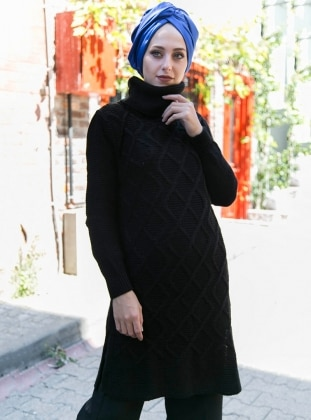 İnşirah Triko Tunik - Siyah