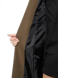 Khaki - Crew neck - Coat