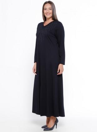 Marineblau - Ohne Innenfutter - V-Ausschnitt - Kleid G.G. - Metex