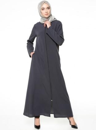 Fermuarlı Ferace - Antrasit ModaNaz