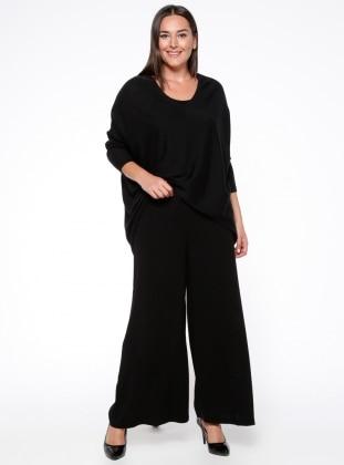 Kemerli Pantolon Etek - Siyah Nevra