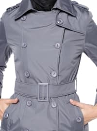 Gray - Fully Lined - Point Collar - Trench Coat