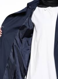 Navy Blue - Fully Lined - Point Collar - Trench Coat