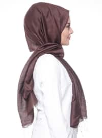 Brown - Plain - Fringe - Silk Blend - Cotton - Shawl
