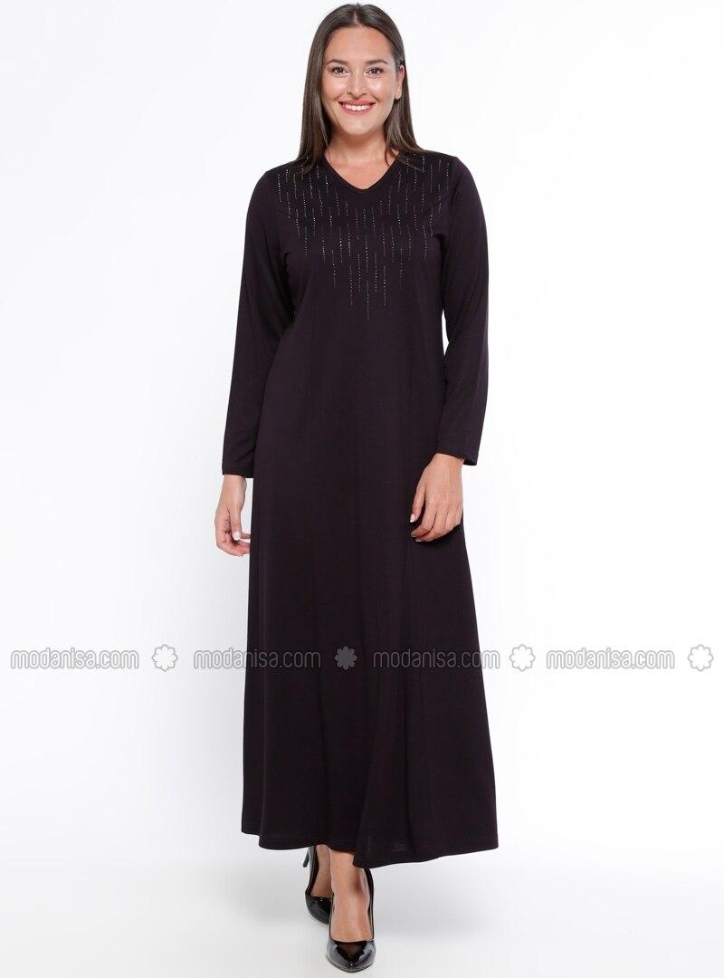 Purple - Unlined - V neck Collar - Plus Size Dress