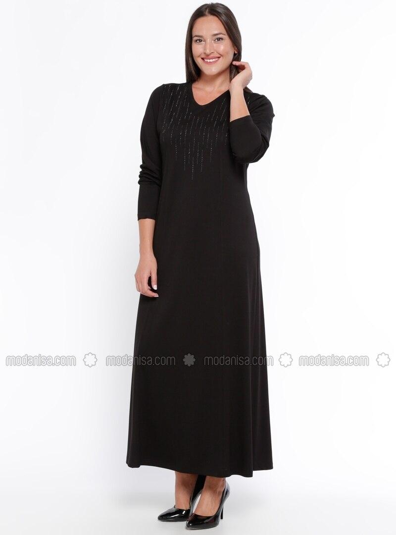Black - Unlined - V neck Collar - Plus Size Dress