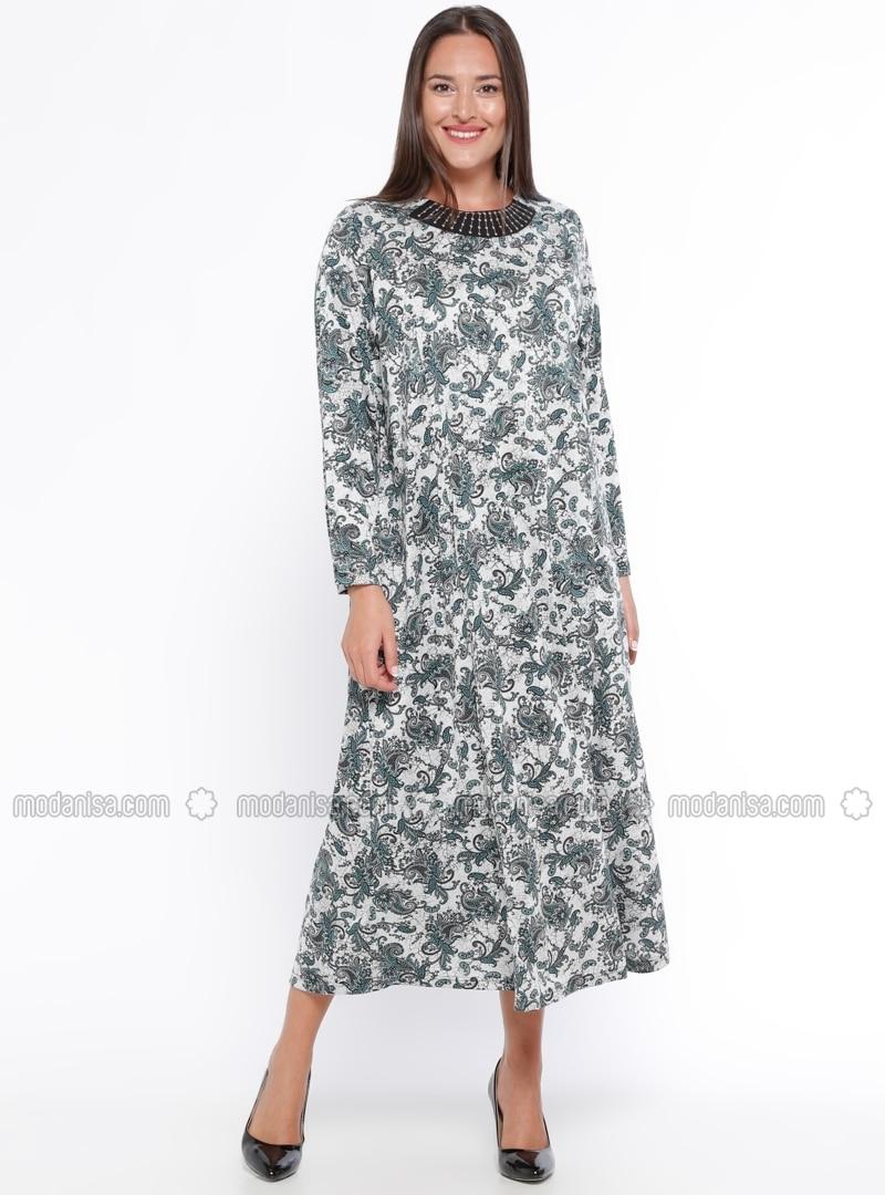 Crew neck - Unlined - Ethnic - Gray - Green - Plus Size Dress